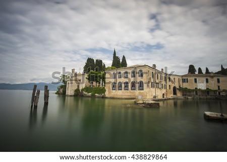 Punta San Vigilio near lake Garda in Italy  (Long Exposure) - stock photo