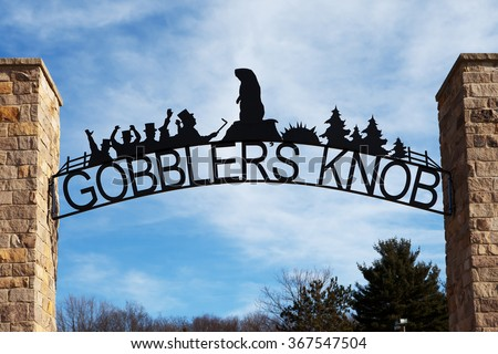 PUNXSUTAWNEY, PA - MARCH 29: Entrance to Gobblerâ??s Knob on March 29, 2015 in Punxsutawney, PA. Gobblerâ??s Knob is the site of the annual Groundhog Day celebration held on February 2nd. - stock photo