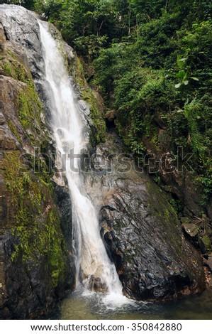 Punyaban waterfall, Ranong province, Thailand - stock photo