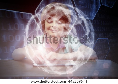 Pupil using tablet pc against black background with shiny hexagons - stock photo