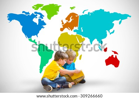 Pupils reading book against white background with vignette - stock photo