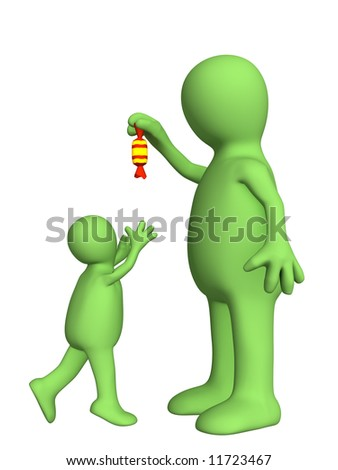 Puppet - adult, sneering above the small child. Objects over white - stock photo