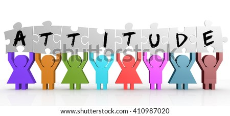Puppet hold puzzle with attitude word on it image, 3d rendering - stock photo