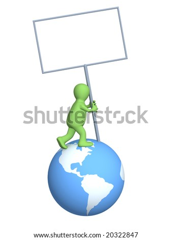 Puppet, installing the tablet on Earth - stock photo