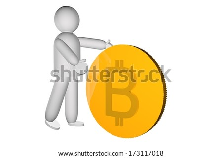 Puppet pushing a big golden bitcoin, 3d render - stock photo