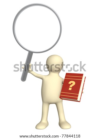 Puppet with book and loupe. Objects isolated over white - stock photo