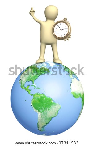 Puppet with clock. Isolated over white