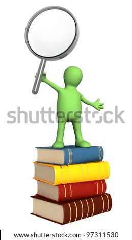 Puppet with magnifying glass and books. Isolated over white - stock photo