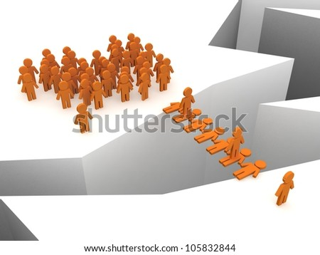 Puppets and abyss. Separation concept - stock photo
