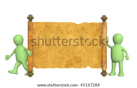 Puppets with the ancient manuscript in a hand - stock photo