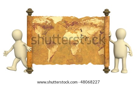Puppets with the ancient map in a hand - stock photo