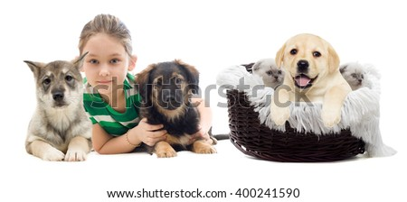 puppy and child