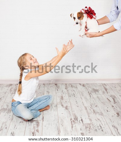 Puppy as a gift. Dog with a bow - stock photo