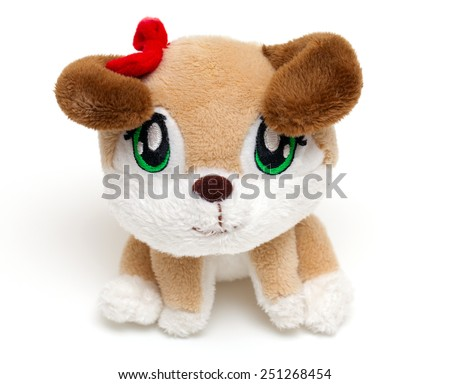 puppy soft toy isolated on white background - stock photo