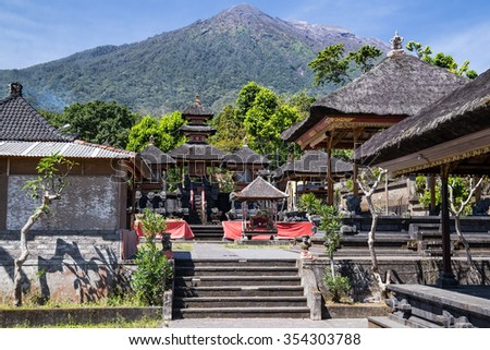 Pura Besakih Balinese temple with Mount Agung in the background - stock photo