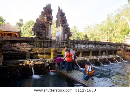Pura Tirta Umple in Bali Indonesia, June 16 2015 : Balinese are worshiped by Indra is believed to have originated from the locals come to bathe.in Pura Tirta Umple in Bali Indonesia, June 16 2015 - stock photo