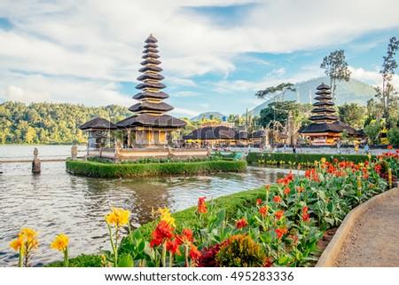 Pura Ulun Danu Bratan Bali Island Stock Photo Shutterstock - Temple landscape architecture