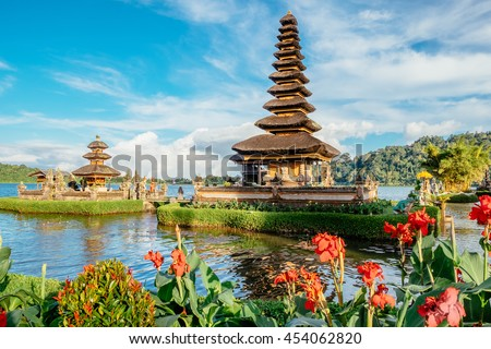 Pura Ulun Danu Bratan. Bali island travel. Hindu temple in flowers on Bratan lake, Bali island, Asia. Major water temple Bali, Indonesia. Water temple Indonesia. Hindu temple Indonesia, Asia landscape