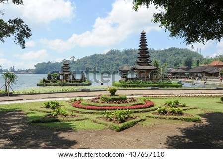 Pura Ulun Danu Bratan famous temple on the lake at Bedugul on Bali, Indonesia. - stock photo