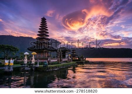 Pura Ulun Danu Bratan, Hindu temple on Bratan lake, Bali, Indonesia - stock photo