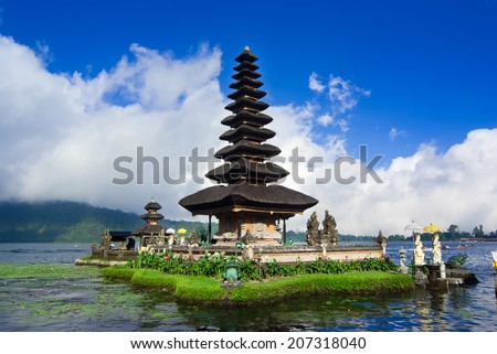 Pura Ulun Danu Bratan is a major water temple on Lake Bratan, Bali, Indonesia - stock photo