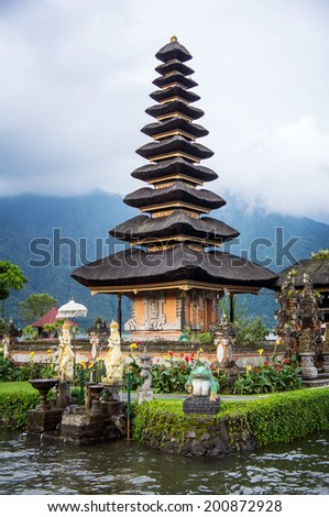 Pura Ulun Danu temple on a lake Beratan. Bali,Iindonesia  - stock photo