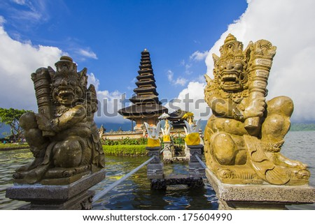 Pura Ulun Danu temple on a lake Beratan, Bali, Indonesia - stock photo