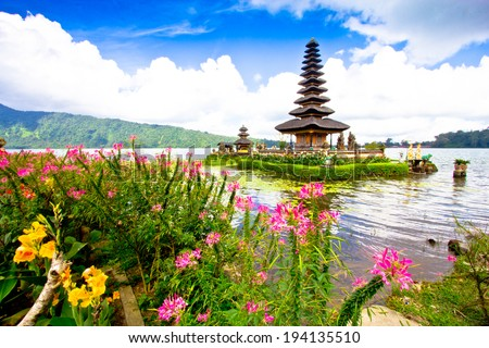 Pura Ulun Danu temple on a lake Beratan. Bali ,Indonesia - stock photo