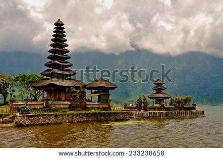 Pura Ulun Danu temple on a lake Beratan in Bali island - stock photo