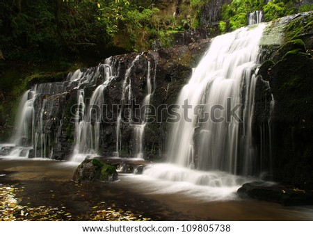 Purakaunui waterfall, Catlins, New Zealand - stock photo