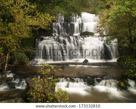 Purakaunui waterfall in Catlins, New Zealand - stock photo