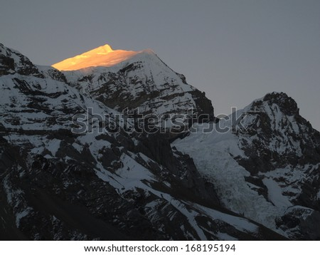 Purbung Himal in the evening, Nepal