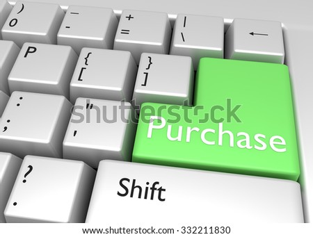 Purchase - key on keyboard for buying. E-commerce concept - stock photo