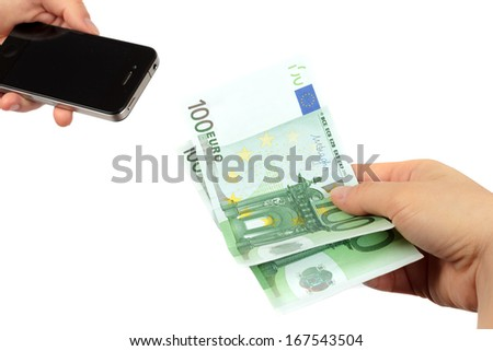 Purchasing new cell phone - cell phone and Euro banknotes