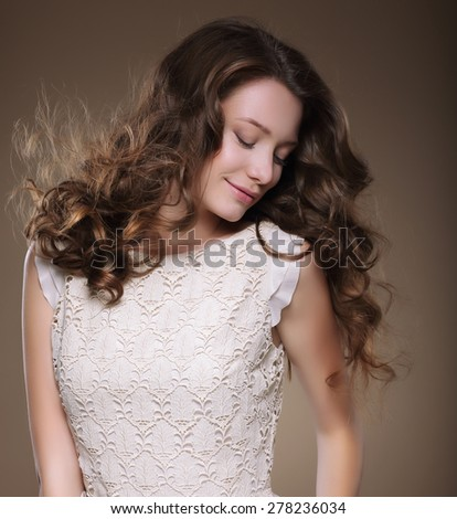 Pure Beauty. Young Brunette with Closed Eyes - stock photo
