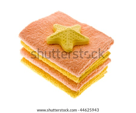 Pure colour towels and mineral salt for a bath