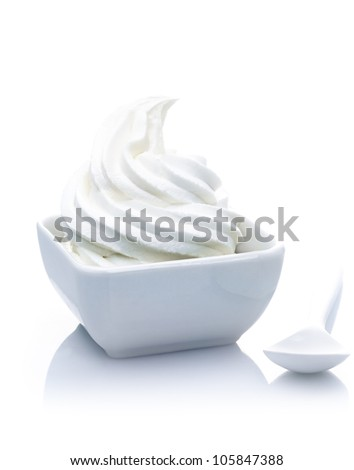 Pure Frozen Yogurt Dessert with vanilla blend. Isolated on white background. - stock photo