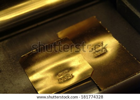 pure gold foil for craftsmanship - stock photo