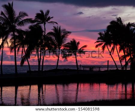 Pure Hawaiian Sunset - stock photo