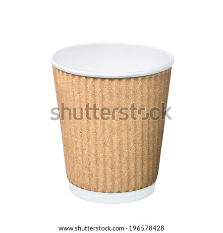 Pure kraft ripple wrap paper coffee cup template mockup isolated on white background ready for hipster logo print or branding identity - stock photo