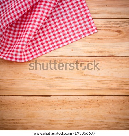 Pure Notebook For Recording Menu, Recipe On Red Checkered Tablecloth  Tartan. Wooden Table Close