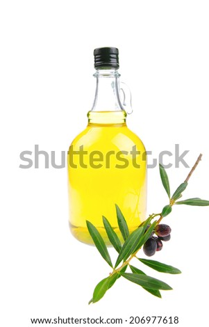 pure of oil and olives on white background