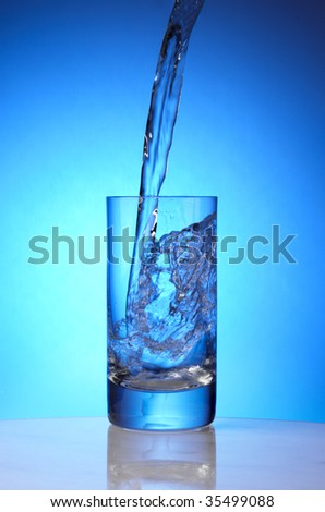 Pure spring water pours into drinking glass