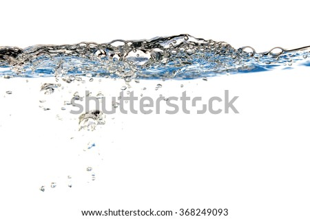 Pure water with waves and bubbles. Isolated on white. Clean and natural with a lot of copy space.
