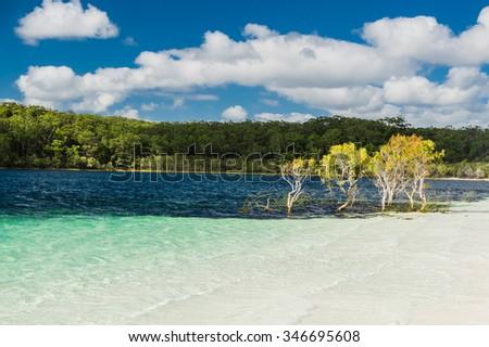Pure waters of Lake McKenzie, Fraser Island, Australia - stock photo