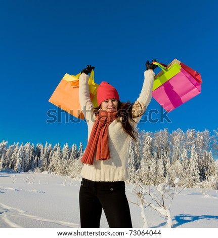 Pure Winter Shopping - stock photo