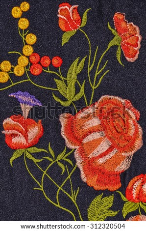 Pure woolen dress with flowery crochetings / Wool dress / Worn during colder months and in air-conditioned offices - stock photo