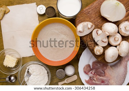 Puree soup with mushrooms with a full range of ingredients for cooking. - stock photo