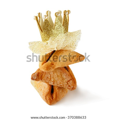 Purim celebration concept (jewish carnival holiday). selective focus. isolated on white