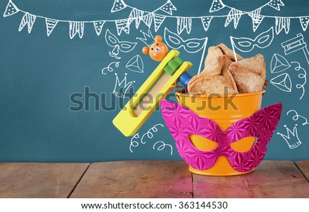 Purim celebration concept (jewish carnival holiday) with set of infographics. selective focus  - stock photo